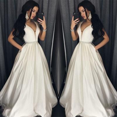 Modern V-neck Sleeveless A-line Floor-length Prom Dress_3