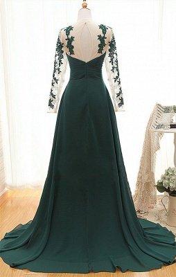 Dark Green Long Sleeve Formal Dresses for Women | Appliques Chiffon Evening Gowns_2