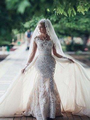 Elegant Cheap Mermaid Long Sleeve Lace Wedding Dresses | Elegant Lace Appliques Detachable Skirt Bridal Gowns_1