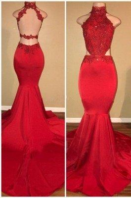 Sleeveless Open Back Mermaid Long Prom Dresses Cheap Plus Size | Lace Formal Dresses for Women_3