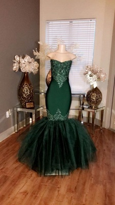 Strapless Mermaid Tulle Appliques Sexy Dark Green Prom Dresses_3