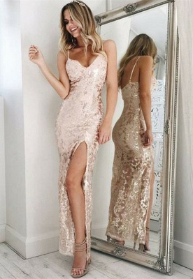Spaghetti-Straps Sequins Prom Dress |Long Evening Gowns With Slit_1