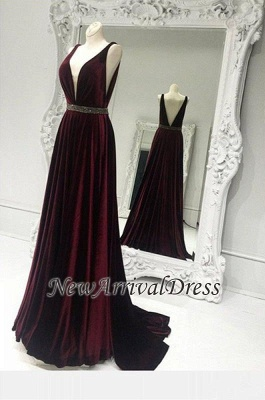 Sweep Train Brads Sleeveless Custom Made A-line V-neck Burgundy Zipper Prom Dresses Cheap_1