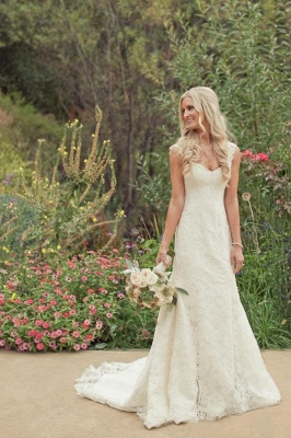 Mermaid Vintage Lace Appliques Straps Wedding Dresses Cheap with Court Train_5