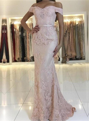 Charming Mermaid Lace Prom Dresses | 2019 Off-the-Shoulder Floor-Length Evening Gowns_1