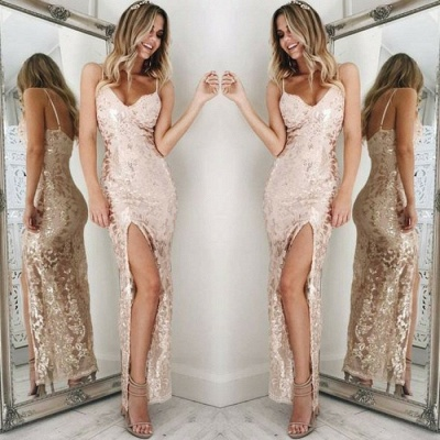 Spaghetti-Straps Sequins Prom Dress |Long Evening Gowns With Slit_4