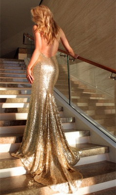 Deep V-neck Open Back Sexy Formal Formal Dresses Mermaid Sequins Prom Dress BA3586_4