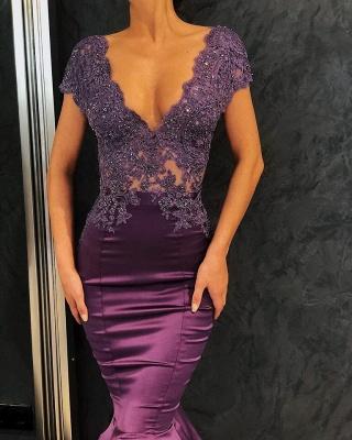 Robes de soirée sexy col en V à manches courtes 2020 | Sirène baguettes longues robes de soirée_4