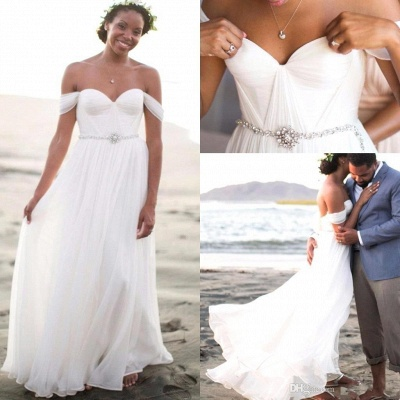 Off The Shoulder Summer Beach Wedding Dresses   Chiffon Bridal Gowns Cheap Online_3