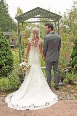 Mermaid Vintage Lace Appliques Straps Wedding Dresses Cheap with Court Train_3