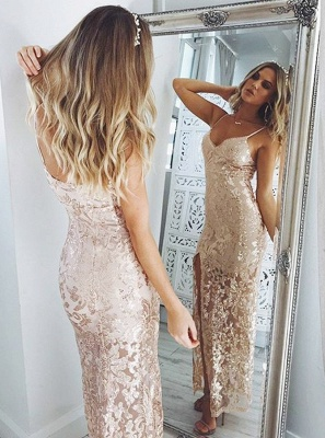 Spaghetti-Straps Sequins Prom Dress |Long Evening Gowns With Slit_3