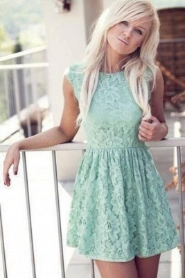 Miniskirt Sleeveless New Pretty Cheap Lace Mint Bateau Homecoming Dress_1