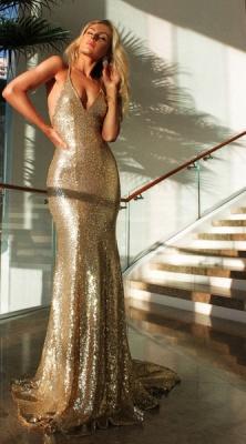 Deep V-neck Open Back Sexy Formal Formal Dresses Mermaid Sequins Prom Dress BA3586_3
