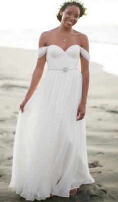 Off The Shoulder Summer Beach Wedding Dresses | Chiffon Bridal Gowns Cheap Online_1