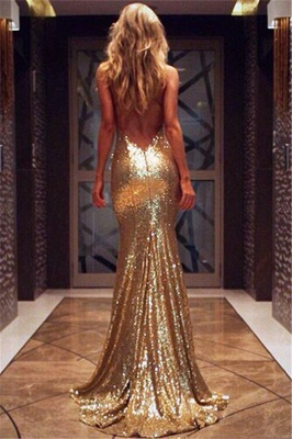 Deep V-neck Open Back Sexy Formal Formal Dresses Mermaid Sequins Prom Dress BA3586