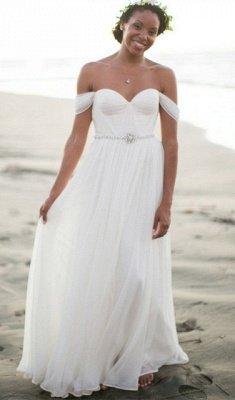 Off The Shoulder Summer Beach Wedding Dresses   Chiffon Bridal Gowns Cheap Online_1