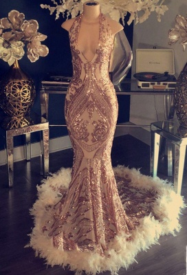Halter V-neck Sparkling Appliques Prom Dresses Long | Sleeveless Sexy Formal Dresses with Feather BC1048