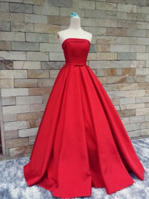 Strapless Red Bows-Sashes Puffy Simple Long Prom Dresses Cheap BA8232_6