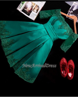 Half Sleeve Charming Appliques Green Lace Sexy Short Homecoming Dresses_1
