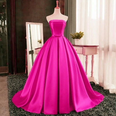 Strapless Red Bows-Sashes Puffy Simple Long Prom Dresses Cheap BA8232_3