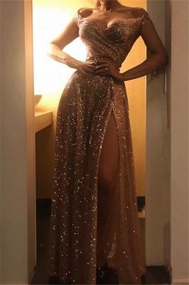 Cheap Off The Shoulder Sequins Prom Dresses   Long Ruffles Side Slit Simple Formal Dress BC1409_1