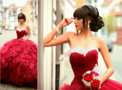 Glamorous Sweetheart Red Prom DressBall Gown Crystal Sweet Sixteen Dress_3