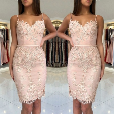Spaghetti-Straps Sweetheart Short Prom Dress  Mermaid Lace Appliques Homecoming Dress BA9829_3