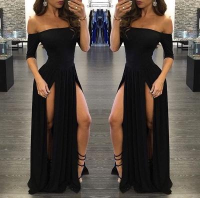 Chiffon Sexy Off-the-shoulder Half-Sleeve Black Split Prom Dress_3
