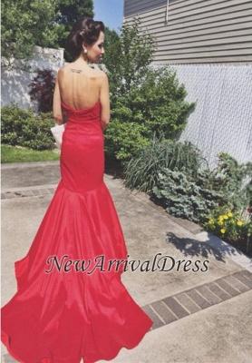 Newest Mermaid Sweep-Train Red Sweetheart Sleeveless Prom Dress_3