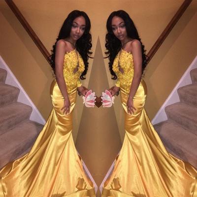 Modern Yellow Mermaid Sleeveless Prom Dress | Prom Dress_3