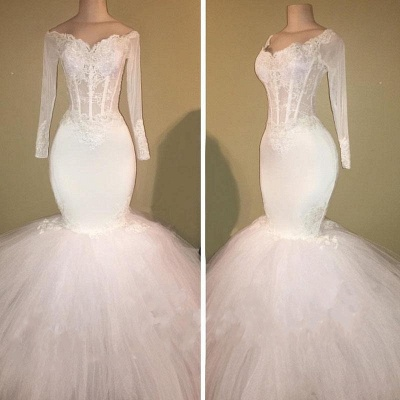 White Mermaid Long Prom Dresses Cheap | Off The Shoulder Long Sleeve Bridal Gowns_3