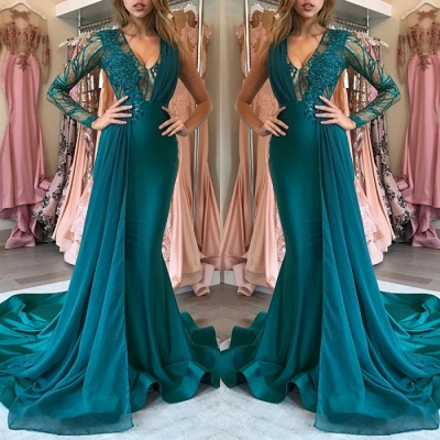 Green Long-SleeveProm Dress | Chiffon Long Evening Gowns With Appliques_3