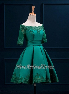 Half Sleeve Charming Appliques Green Lace Sexy Short Homecoming Dresses_5