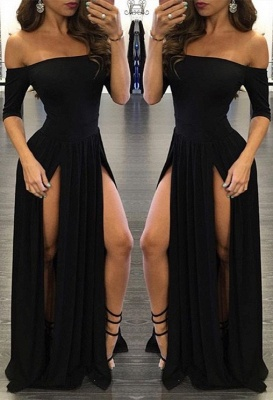 Chiffon Sexy Off-the-shoulder Half-Sleeve Black Split Prom Dress_2