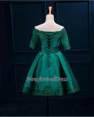 Half Sleeve Charming Appliques Green Lace Sexy Short Homecoming Dresses_4