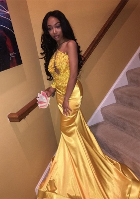 Modern Yellow Mermaid Sleeveless Prom Dress | Prom Dress_1