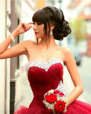 Glamorous Sweetheart Red Prom DressBall Gown Crystal Sweet Sixteen Dress_1
