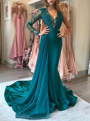 Green Long-Sleeve 2018 Prom Dress | Chiffon Long Evening Gowns With Appliques