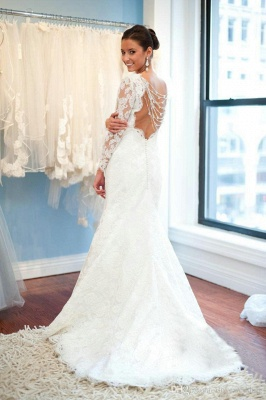 Sexy Open Back A-Line Plus Size LaceSleeves Elegant Wedding Dresses Cheap Online_3