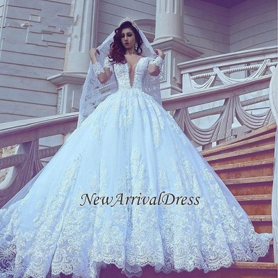 Popular V-neck New Arrival Lace Long Sleeve Cheap Online Court Train Elegant Ball Gown Wedding Dresses_1