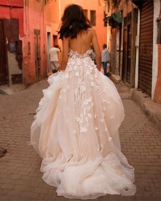Flowers Tulle Glamorous V-Neck Sleeveless Wedding Dresses Cheap_3