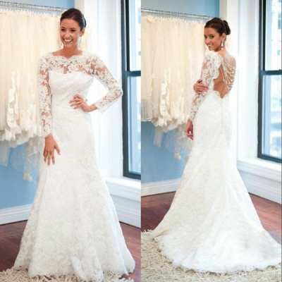 Sexy Open Back A-Line Plus Size LaceSleeves Elegant Wedding Dresses Cheap Online_4