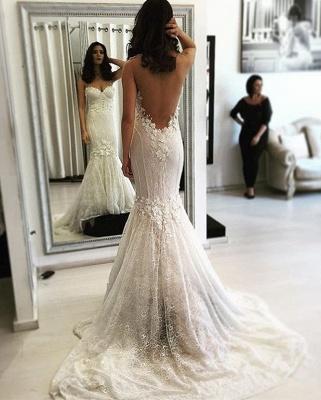 Beautiful Lace Open Back Mermaid Sweep Train Sweetheart Wedding Dresses_3
