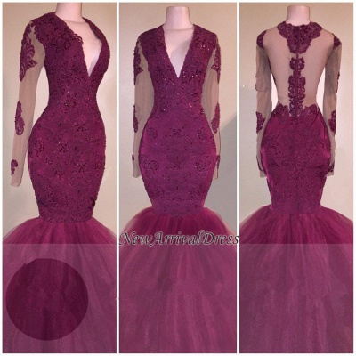 V-Neck Burgundy Tulle Mermaid Evening Gowns   Beaded Long Sleeve Appliques Prom Dresses Cheap_1