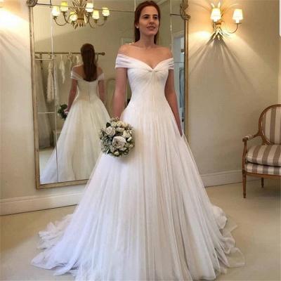 Simple A-Line Off Shoulder Wedding Dresses | 2021 Tulle Elegant Bridal Gowns BC1556_3
