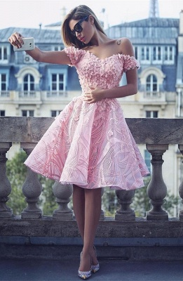 Lovely Off-the-Shoulder Homecoming Dress |Short Prom Dress Online_1