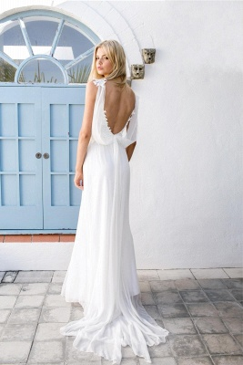 Backless Beach Wedding Dresses Cheap | Lace Chiffon Summer Bridal Gowns with Sash_3