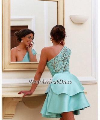 Pretty One-Shoulder Two-Layer Party Shot Lace Homecoming Dress_1