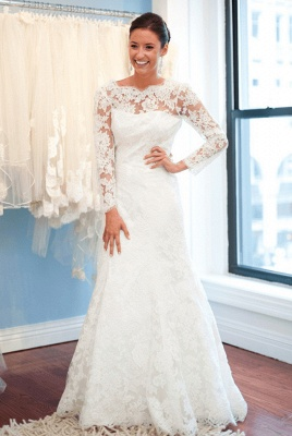 Sexy Open Back A-Line Plus Size LaceSleeves Elegant Wedding Dresses Cheap Online_2