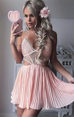 Cute Pink Lace Short Spaghetti Strap A-line Homecoming Dress | Modest Homecoming Dress_1